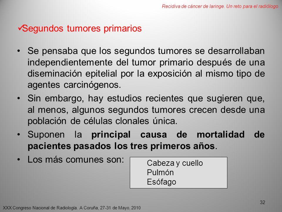 Segundos tumores primarios Se pensaba que los segundos tumores se desarrollaban independientemente del tumor primario después de una diseminación epitelial por la exposición al mismo tipo de agentes carcinógenos.