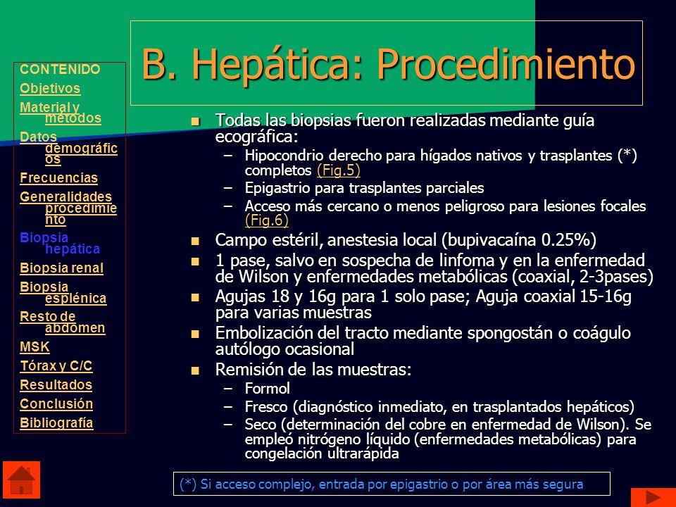 B. Hepática: Procedimiento Todas las biopsias fueron realizadas mediante guía ecográfica: Todas las biopsias fueron realizadas mediante guía ecográfic