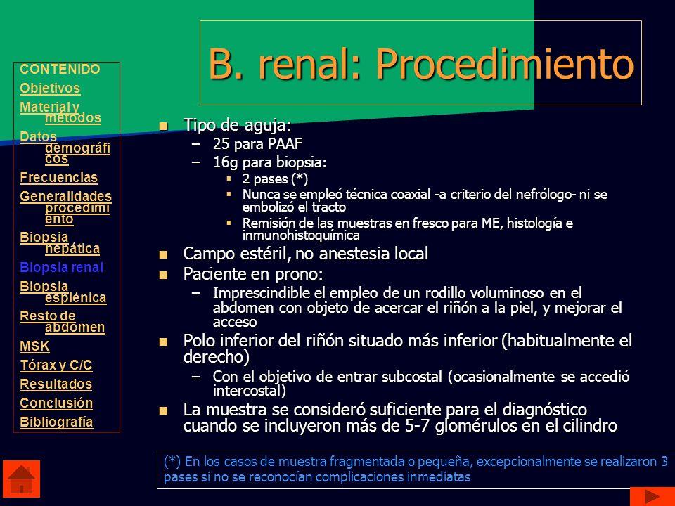 B. renal: Procedimiento Tipo de aguja: Tipo de aguja: –25 para PAAF –16g para biopsia: 2 pases (*) 2 pases (*) Nunca se empleó técnica coaxial -a crit
