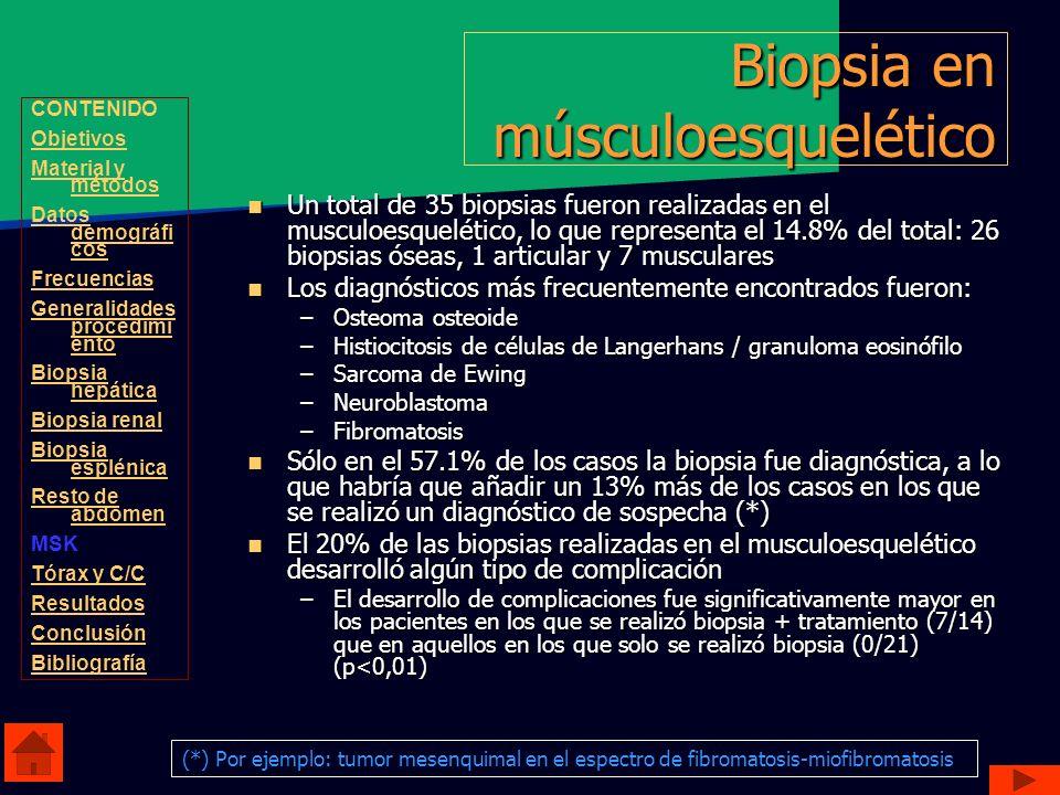 Biopsia en músculoesquelético Un total de 35 biopsias fueron realizadas en el musculoesquelético, lo que representa el 14.8% del total: 26 biopsias ós