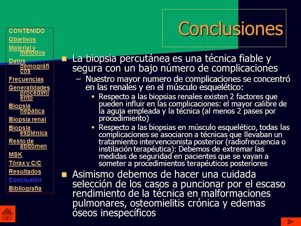 Conclusiones La biopsia percutánea es una técnica fiable y segura con un bajo número de complicaciones La biopsia percutánea es una técnica fiable y s