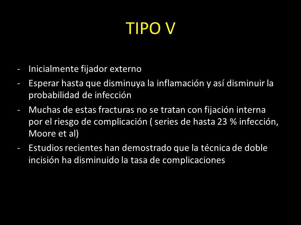 TIPO V -Inicialmente fijador externo -Esperar hasta que disminuya la inflamación y así disminuir la probabilidad de infección -Muchas de estas fractur