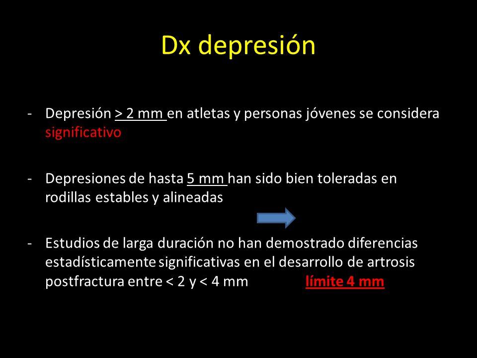 Dx depresión -Depresión > 2 mm en atletas y personas jóvenes se considera significativo -Depresiones de hasta 5 mm han sido bien toleradas en rodillas