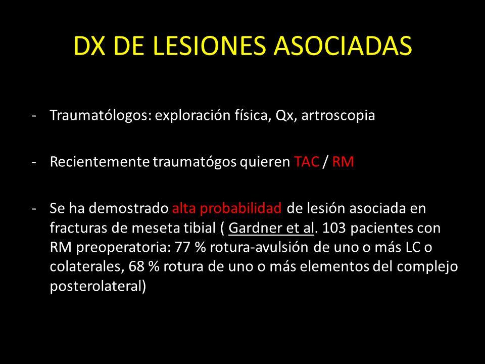 DX DE LESIONES ASOCIADAS -Traumatólogos: exploración física, Qx, artroscopia -Recientemente traumatógos quieren TAC / RM -Se ha demostrado alta probab