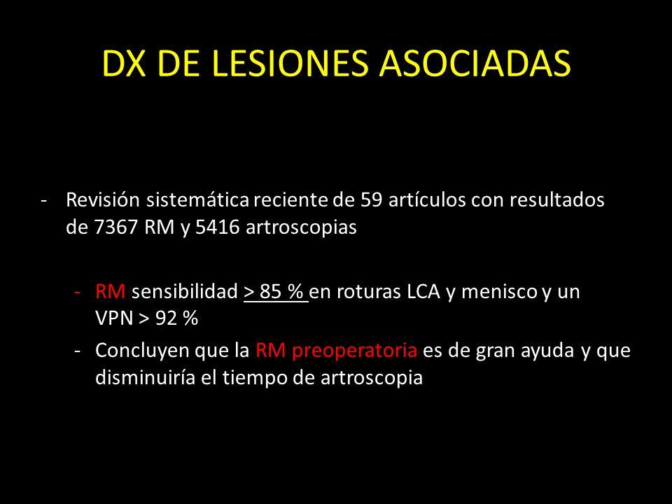 DX DE LESIONES ASOCIADAS -Revisión sistemática reciente de 59 artículos con resultados de 7367 RM y 5416 artroscopias -RM sensibilidad > 85 % en rotur