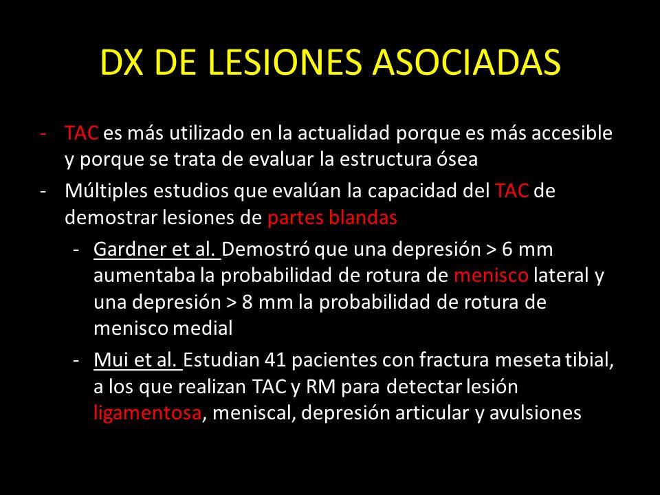 DX DE LESIONES ASOCIADAS -TAC es más utilizado en la actualidad porque es más accesible y porque se trata de evaluar la estructura ósea -Múltiples est