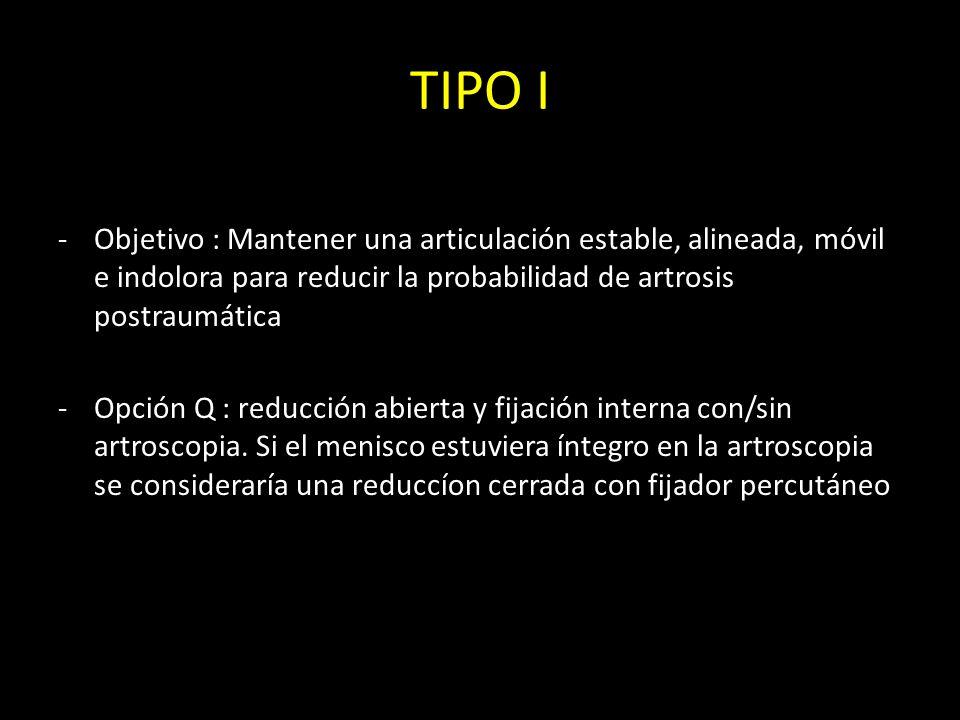 TIPO I -Objetivo : Mantener una articulación estable, alineada, móvil e indolora para reducir la probabilidad de artrosis postraumática -Opción Q : re