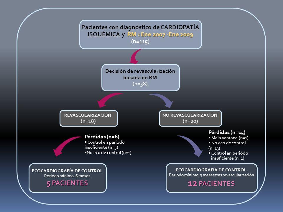 ECOCARDIOGRAFÍA DE CONTROL Periodo mínimo: 6 meses 5 PACIENTES RM : Ene 2007 -Ene 2009 Pacientes con diagnóstico de CARDIOPATÍA ISQUÉMICA y RM : Ene 2007 -Ene 2009 (n=115) NO REVASCULARIZACIÓN (n=20) Pérdidas (n=15) Mala ventana (n=1) No eco de control (n=13) Control en periodo insuficiente (n=1) Pérdidas (n=6) Control en periodo insuficiente (n=5) No eco de control (n=1) Decisión de revascularización basada en RM (n=38) REVASCULARIZACIÓN (n=18) ECOCARDIOGRAFÍA DE CONTROL Periodo mínimo: 3 meses tras revascularización 12 PACIENTES