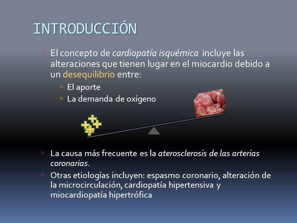INTRODUCCIÓN El concepto de cardiopatía isquémica incluye las alteraciones que tienen lugar en el miocardio debido a un desequilibrio entre: El aporte