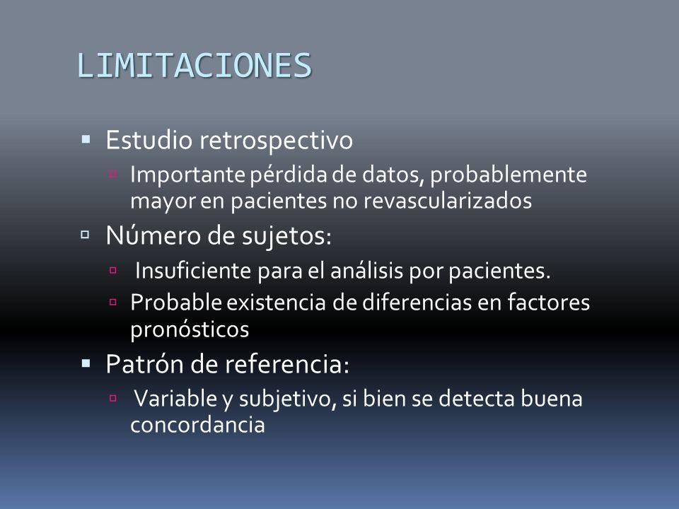 LIMITACIONES Estudio retrospectivo Importante pérdida de datos, probablemente mayor en pacientes no revascularizados Número de sujetos: Insuficiente p