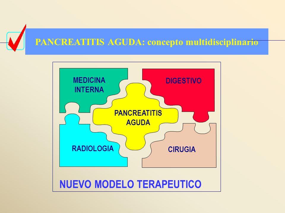 PANCREATITIS AGUDA MEDICINA INTERNA RADIOLOGIA DIGESTIVO CIRUGIA PANCREATITIS AGUDA: concepto multidisciplinario NUEVO MODELO TERAPEUTICO