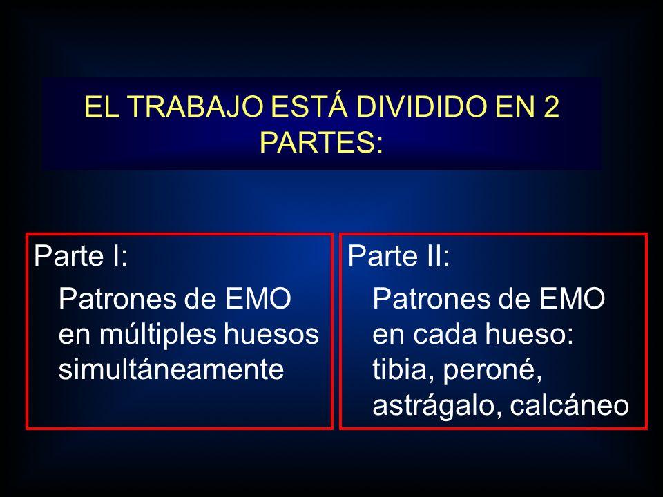 EL TRABAJO ESTÁ DIVIDIDO EN 2 PARTES: Parte I: Patrones de EMO en múltiples huesos simultáneamente Parte II: Patrones de EMO en cada hueso: tibia, per
