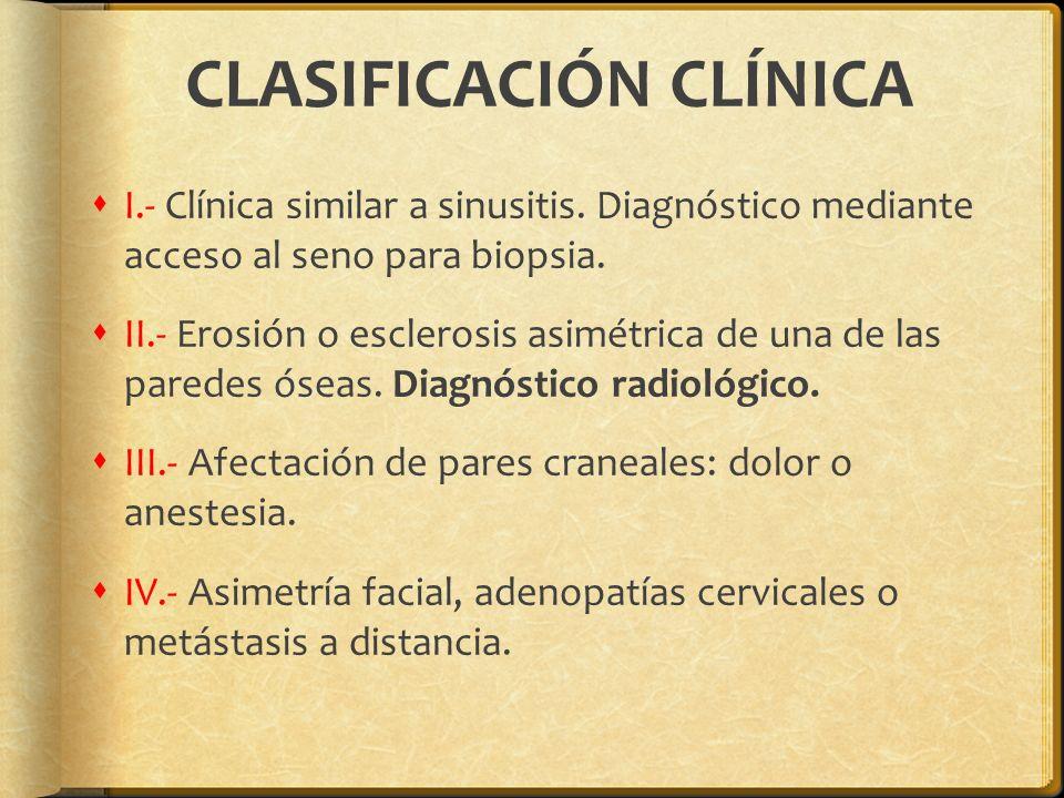 CLASIFICACIÓN CLÍNICA I.- Clínica similar a sinusitis. Diagnóstico mediante acceso al seno para biopsia. II.- Erosión o esclerosis asimétrica de una d