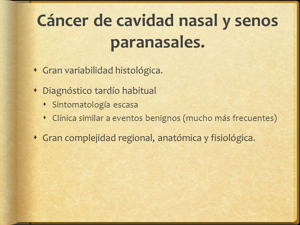 Cáncer de cavidad nasal y senos paranasales. Gran variabilidad histológica. Diagnóstico tardío habitual Sintomatología escasa Clínica similar a evento