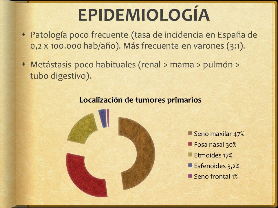 EPIDEMIOLOGÍA Patología poco frecuente (tasa de incidencia en España de 0,2 x 100.000 hab/año). Más frecuente en varones (3:1). Metástasis poco habitu