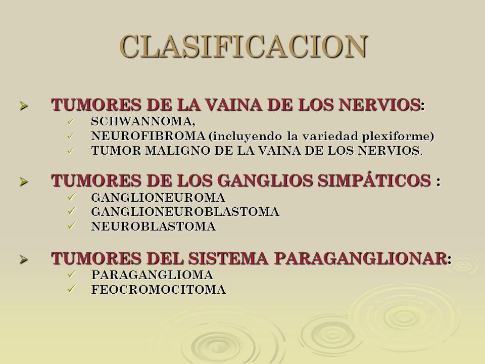 CLASIFICACION TUMORES DE LA VAINA DE LOS NERVIOS: TUMORES DE LA VAINA DE LOS NERVIOS: SCHWANNOMA, SCHWANNOMA, NEUROFIBROMA (incluyendo la variedad ple