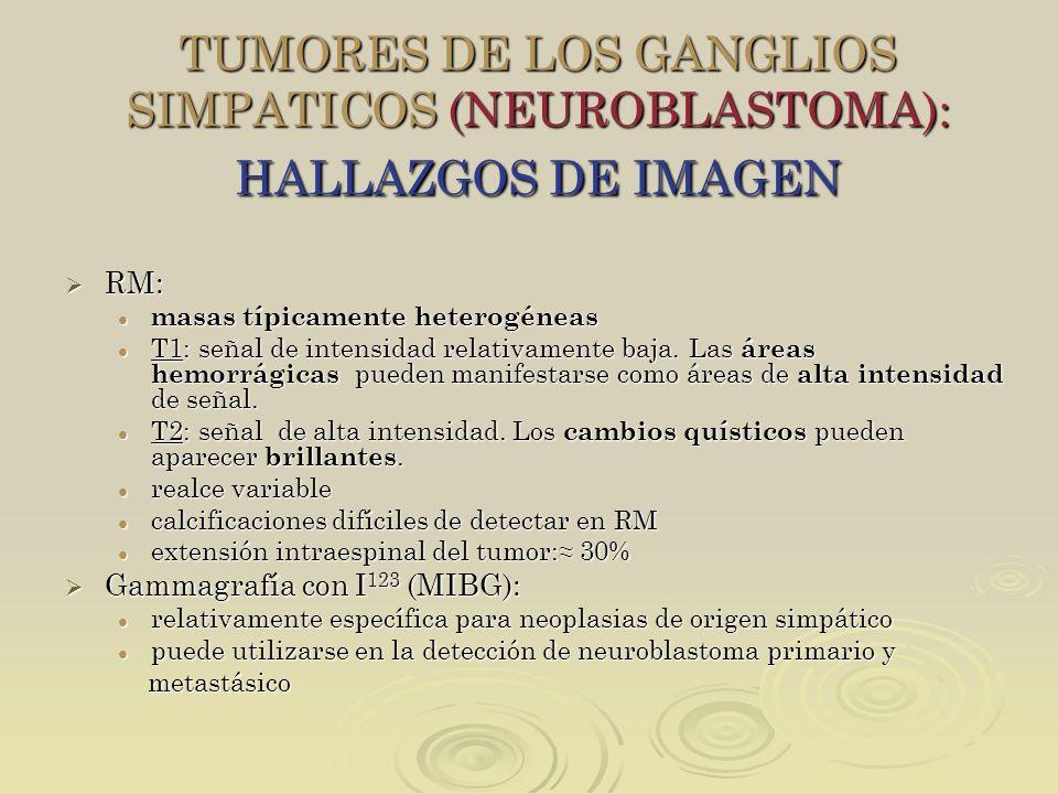 TUMORES DE LOS GANGLIOS SIMPATICOS (NEUROBLASTOMA): HALLAZGOS DE IMAGEN RM: RM: masas típicamente heterogéneas masas típicamente heterogéneas T1: seña