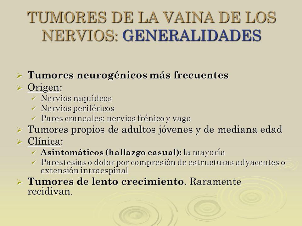 TUMORES DE LA VAINA DE LOS NERVIOS: GENERALIDADES Tumores neurogénicos más frecuentes Tumores neurogénicos más frecuentes Origen: Origen: Nervios raqu