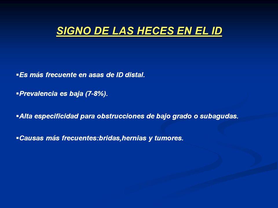 Es más frecuente en asas de ID distal. SIGNO DE LAS HECES EN EL ID Prevalencia es baja (7-8%). Alta especificidad para obstrucciones de bajo grado o s