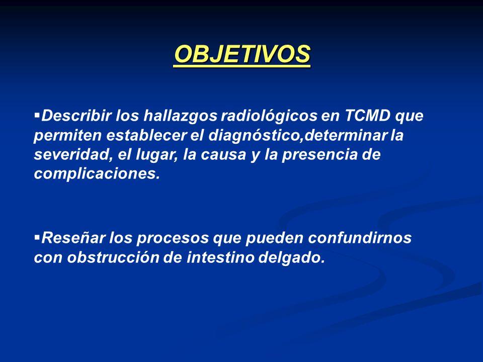 Describir los hallazgos radiológicos en TCMD que permiten establecer el diagnóstico,determinar la severidad, el lugar, la causa y la presencia de comp