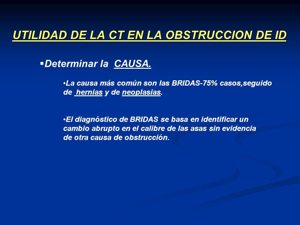UTILIDAD DE LA CT EN LA OBSTRUCCION DE ID Determinar la CAUSA. La causa más común son las BRIDAS-75% casos,seguido de hernias y de neoplasias. El diag