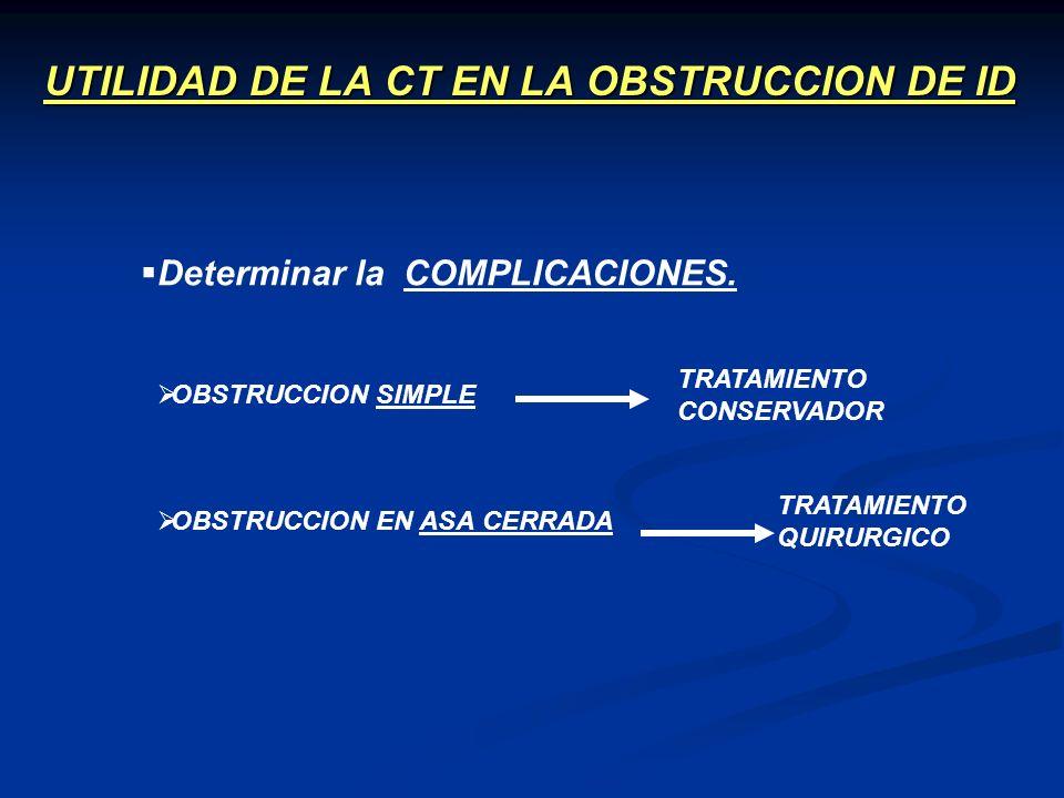 UTILIDAD DE LA CT EN LA OBSTRUCCION DE ID OBSTRUCCION EN ASA CERRADA Determinar la COMPLICACIONES. OBSTRUCCION SIMPLE TRATAMIENTO CONSERVADOR TRATAMIE