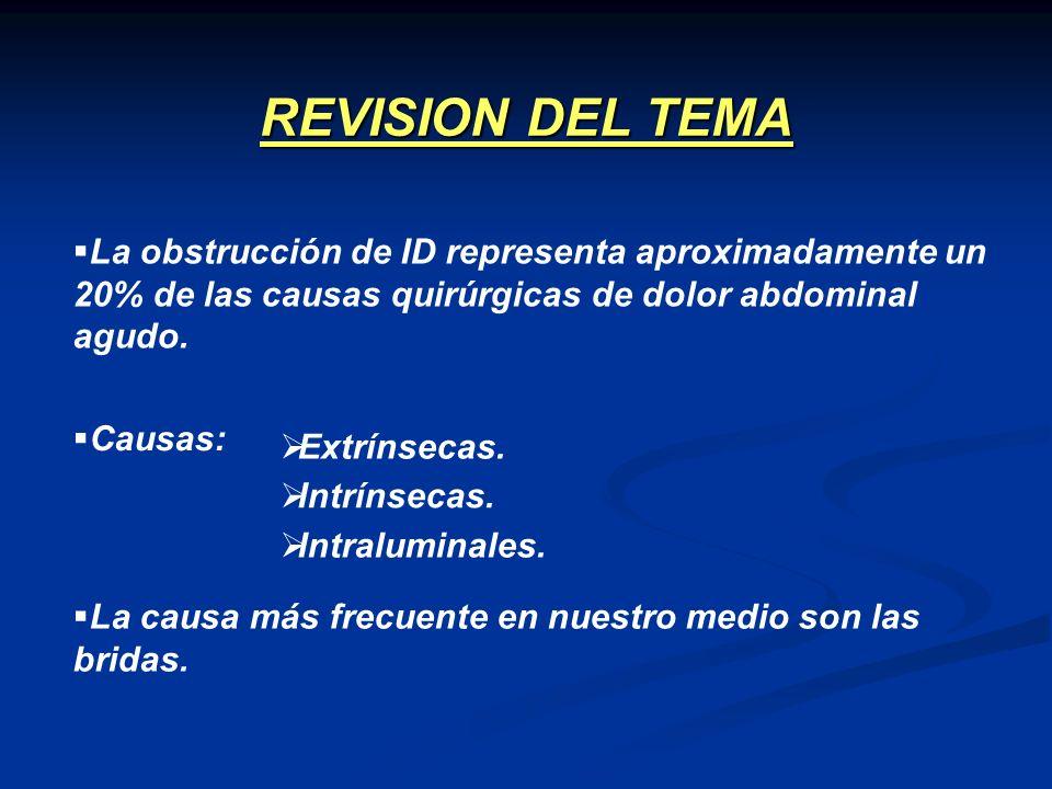 CLINICA DE OBSTRUCCION INTESTINAL RX SIMPLE ABDOMEN OBSTRUCCION COMPLETA Ó PARCIAL DE ALTO GRADO RX NORMAL, EQUÍVOCA OBSTRUCCION DE BAJO GRADO TCMD TRATAMIENTO QUIRURGICO TRATAMIENTO QUIRURGICO Ó CONSERVADOR TRANSITO INTESTINAL ENTEROCLISIS TC-ENTEROCLISIS