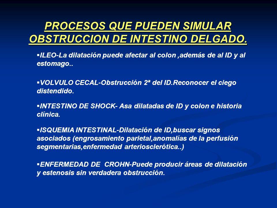 PROCESOS QUE PUEDEN SIMULAR OBSTRUCCION DE INTESTINO DELGADO. ILEO-La dilatación puede afectar al colon,además de al ID y al estomago.. VOLVULO CECAL-