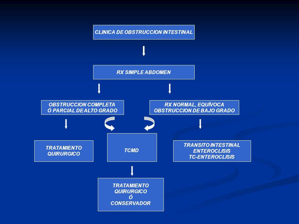 CLINICA DE OBSTRUCCION INTESTINAL RX SIMPLE ABDOMEN OBSTRUCCION COMPLETA Ó PARCIAL DE ALTO GRADO RX NORMAL, EQUÍVOCA OBSTRUCCION DE BAJO GRADO TCMD TR