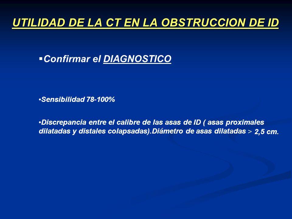 UTILIDAD DE LA CT EN LA OBSTRUCCION DE ID Sensibilidad 78-100% Confirmar el DIAGNOSTICO Discrepancia entre el calibre de las asas de ID ( asas proxima