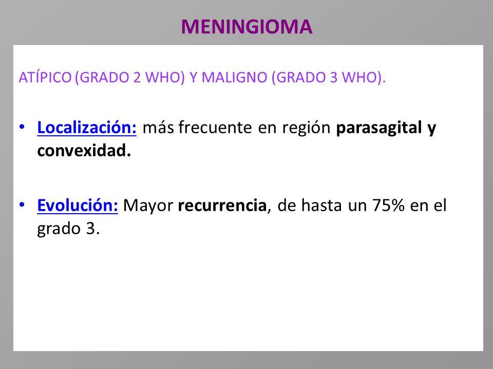 MENINGIOMA ATÍPICO (GRADO 2 WHO) Y MALIGNO (GRADO 3 WHO). Localización: más frecuente en región parasagital y convexidad. Evolución: Mayor recurrencia