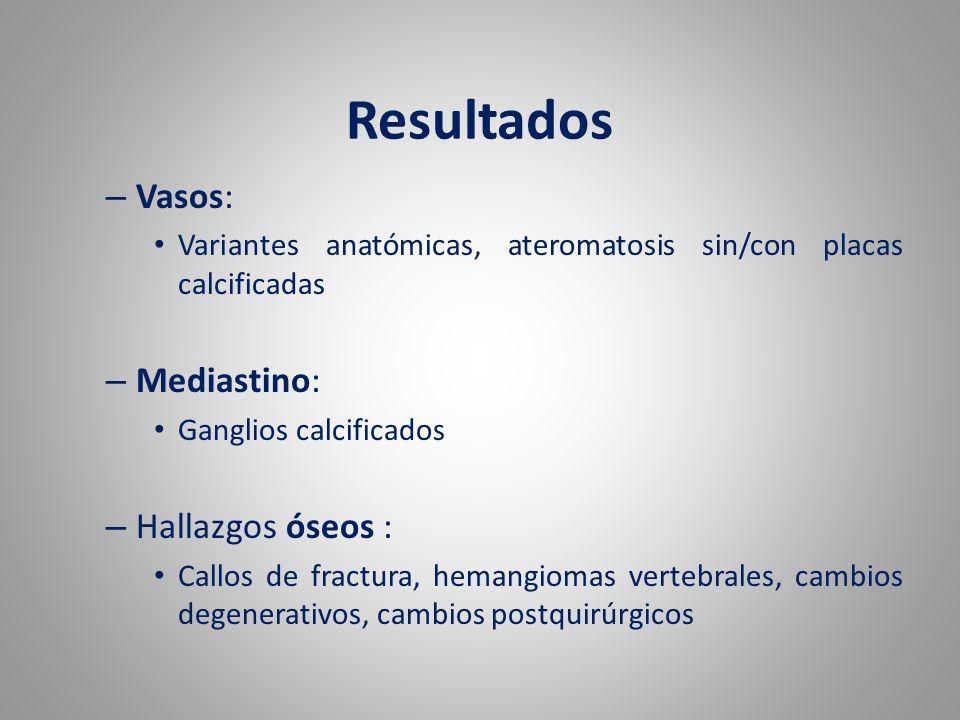 Resultados – Vasos: Variantes anatómicas, ateromatosis sin/con placas calcificadas – Mediastino: Ganglios calcificados – Hallazgos óseos : Callos de f