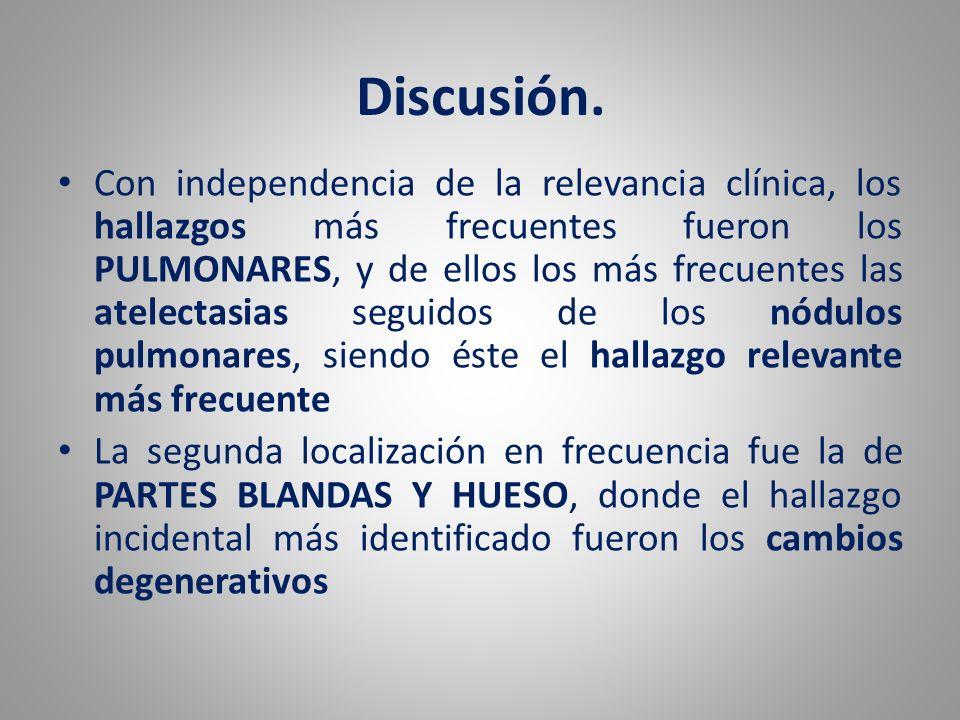 Discusión. Con independencia de la relevancia clínica, los hallazgos más frecuentes fueron los PULMONARES, y de ellos los más frecuentes las atelectas