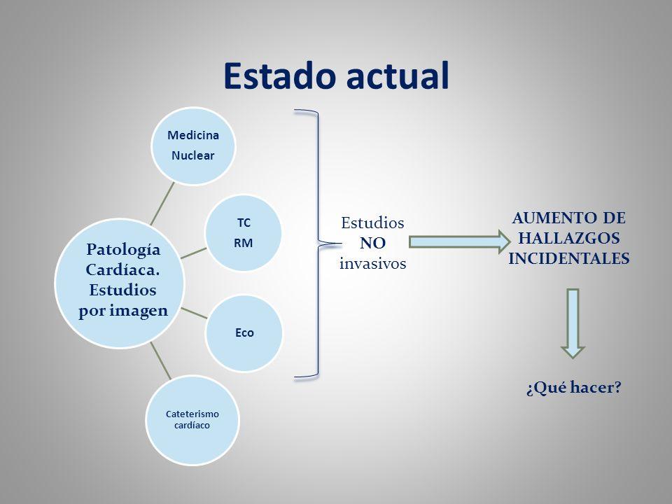 Estado actual Medicina Nuclear TC RM Eco Cateterismo cardíaco Patología Cardíaca. Estudios por imagen Estudios NO invasivos AUMENTO DE HALLAZGOS INCID