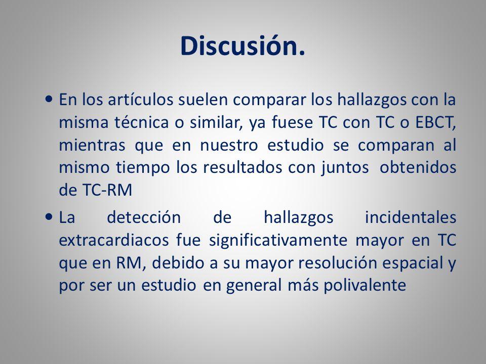 Discusión. En los artículos suelen comparar los hallazgos con la misma técnica o similar, ya fuese TC con TC o EBCT, mientras que en nuestro estudio s
