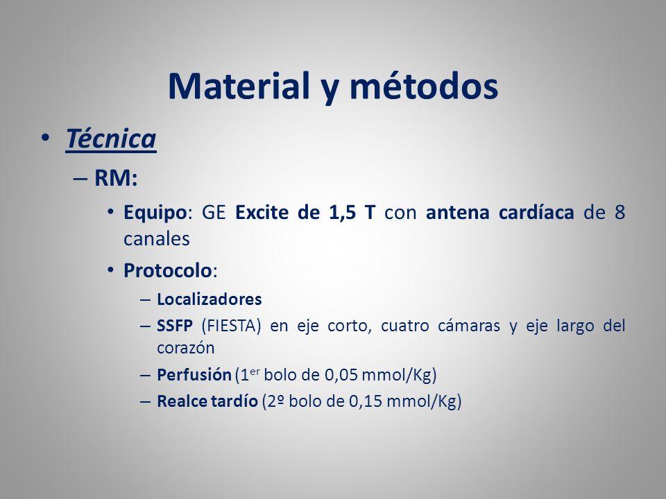 Material y métodos Técnica – RM: Equipo: GE Excite de 1,5 T con antena cardíaca de 8 canales Protocolo: – Localizadores – SSFP (FIESTA) en eje corto,