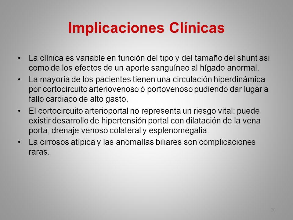 Implicaciones Clínicas La clínica es variable en función del tipo y del tamaño del shunt asi como de los efectos de un aporte sanguíneo al hígado anor