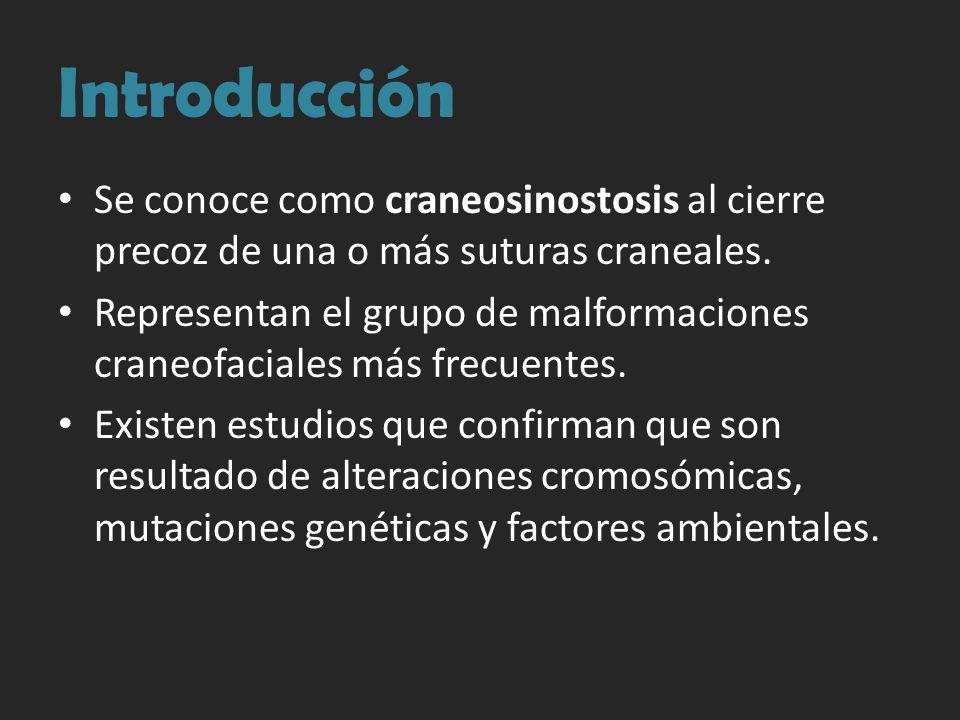 Introducción Se conoce como craneosinostosis al cierre precoz de una o más suturas craneales. Representan el grupo de malformaciones craneofaciales má