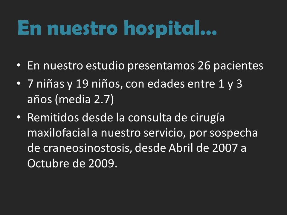 En nuestro hospital… En nuestro estudio presentamos 26 pacientes 7 niñas y 19 niños, con edades entre 1 y 3 años (media 2.7) Remitidos desde la consul