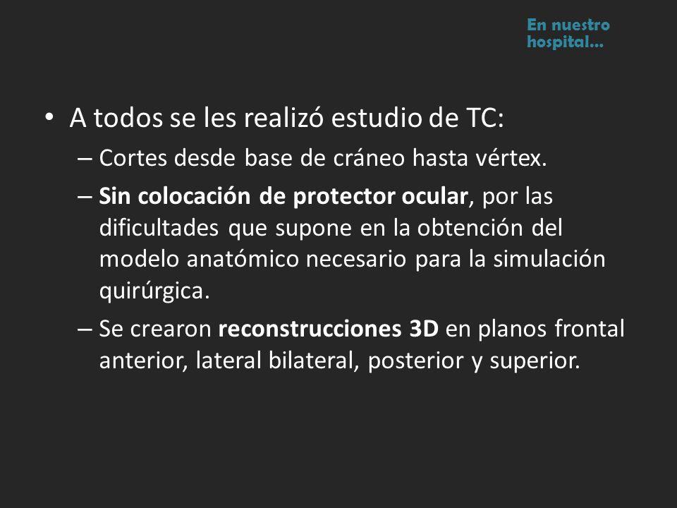 A todos se les realizó estudio de TC: – Cortes desde base de cráneo hasta vértex. – Sin colocación de protector ocular, por las dificultades que supon
