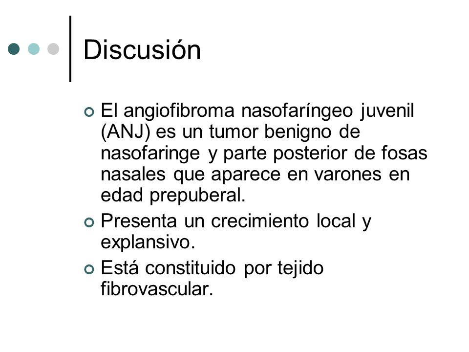 Discusión El angiofibroma nasofaríngeo juvenil (ANJ) es un tumor benigno de nasofaringe y parte posterior de fosas nasales que aparece en varones en e