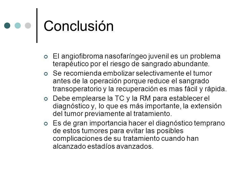 Conclusión El angiofibroma nasofaríngeo juvenil es un problema terapéutico por el riesgo de sangrado abundante. Se recomienda embolizar selectivamente