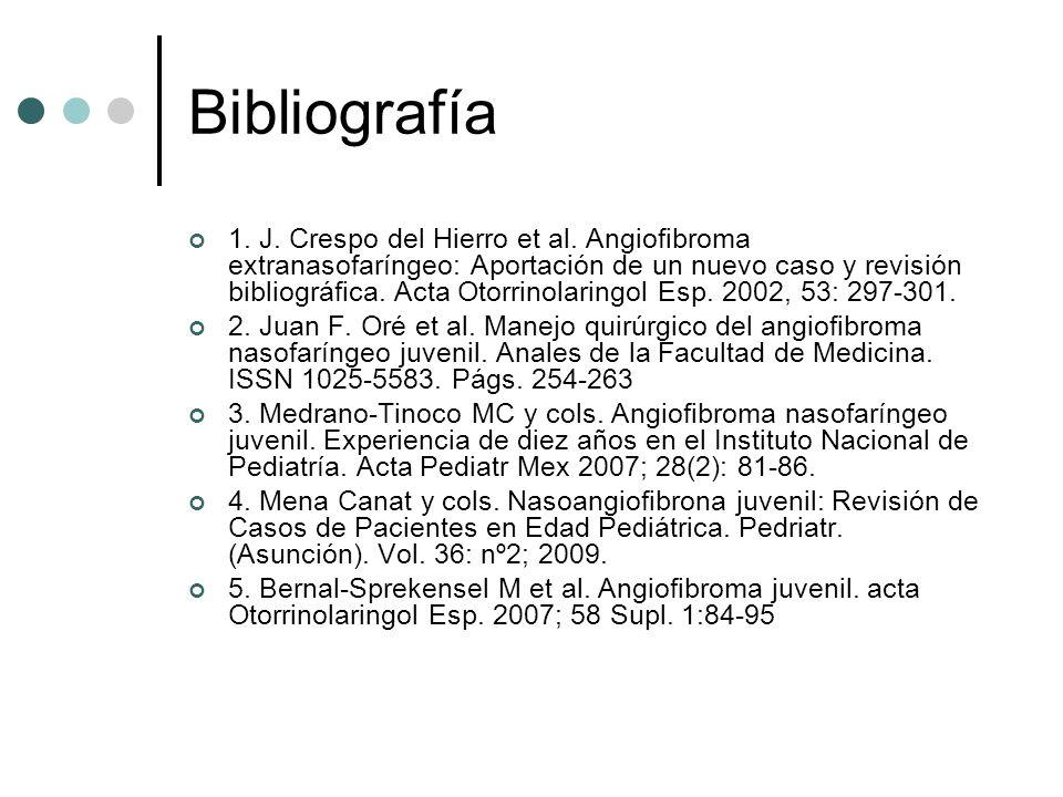 Bibliografía 1. J. Crespo del Hierro et al. Angiofibroma extranasofaríngeo: Aportación de un nuevo caso y revisión bibliográfica. Acta Otorrinolaringo