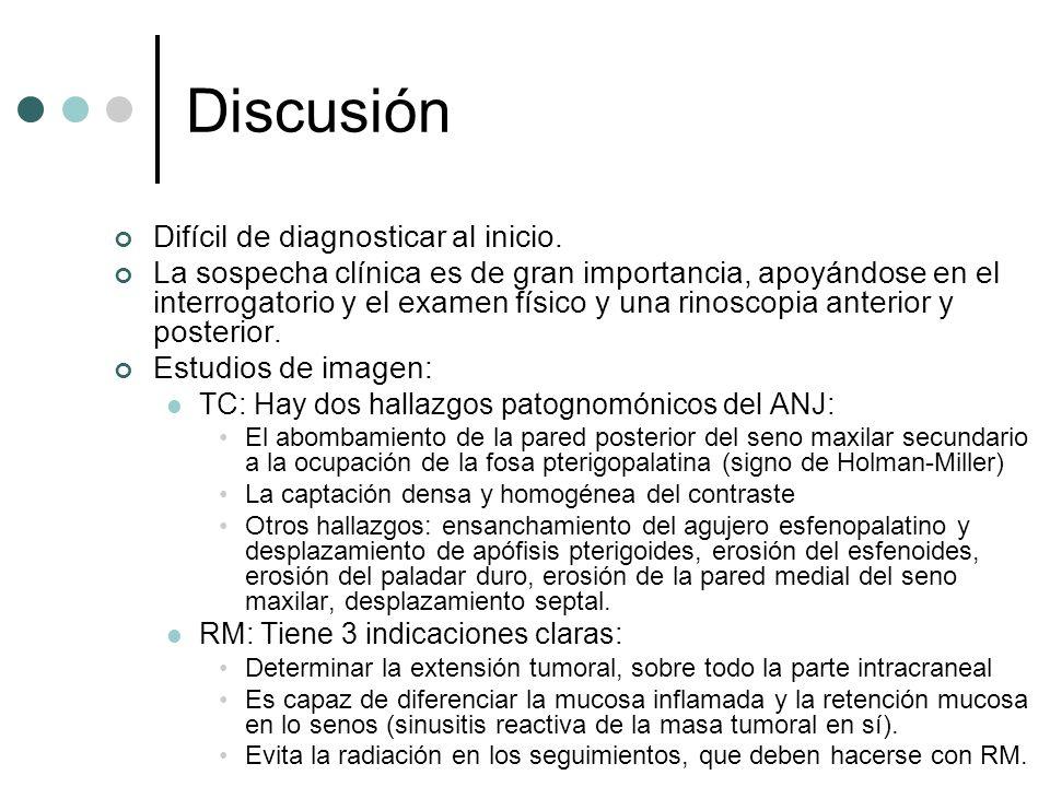 Discusión Difícil de diagnosticar al inicio. La sospecha clínica es de gran importancia, apoyándose en el interrogatorio y el examen físico y una rino