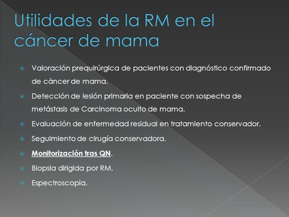 1.-La RM permite evaluar la respuesta del cáncer de mama tratado con quimioterapia neoadyuvante, determinando aquellos pacientes con respuesta completa sin restos de tumor, y aquellos pacientes en los que persisten restos tumorales.