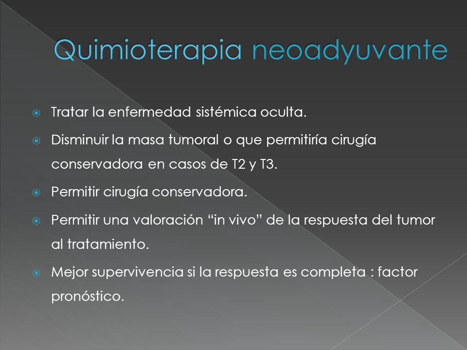 Tratar la enfermedad sistémica oculta. Disminuir la masa tumoral o que permitiría cirugía conservadora en casos de T2 y T3. Permitir cirugía conservad