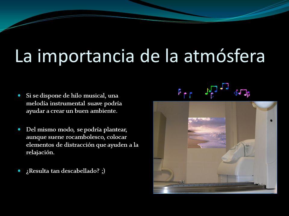 La importancia de la atmósfera Si se dispone de hilo musical, una melodía instrumental suave podría ayudar a crear un buen ambiente. Del mismo modo, s