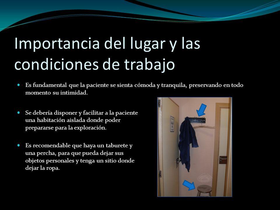 Importancia del lugar y las condiciones de trabajo Se debería disponer y facilitar a la paciente una habitación aislada donde poder prepararse para la