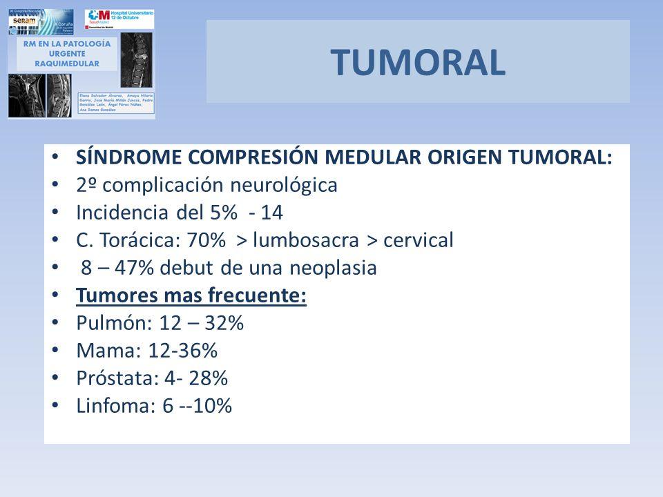SÍNDROME COMPRESIÓN MEDULAR ORIGEN TUMORAL: 2º complicación neurológica Incidencia del 5% - 14 C. Torácica: 70% > lumbosacra > cervical 8 – 47% debut