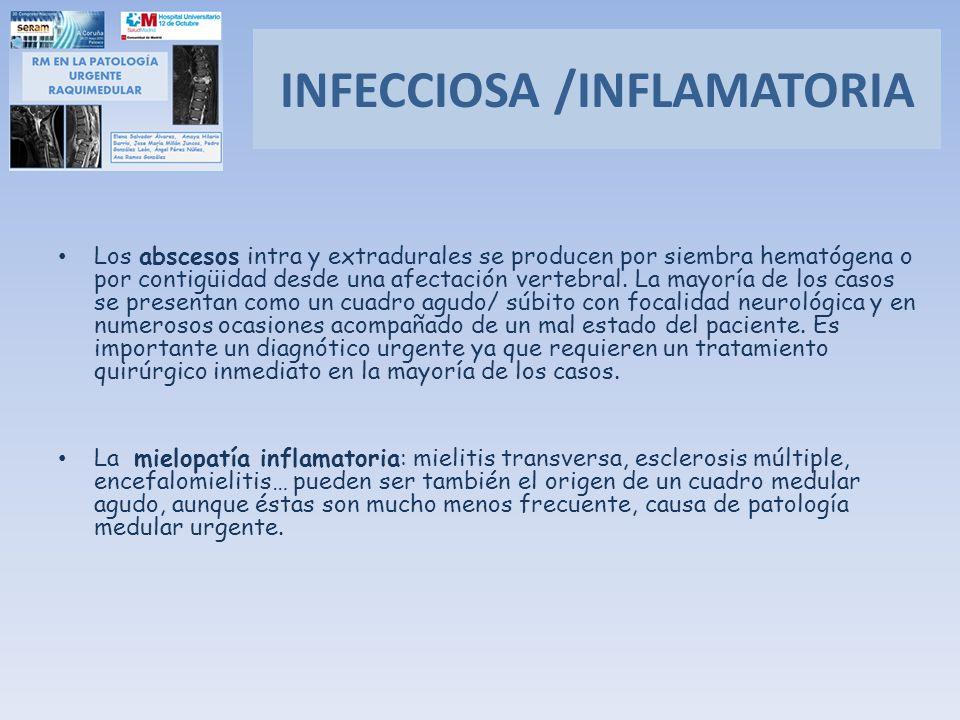 Los abscesos intra y extradurales se producen por siembra hematógena o por contigüidad desde una afectación vertebral. La mayoría de los casos se pres
